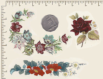 3 x Waterslide ceramic decals Decoupage. Red mix Flowers. Various sizes. PD878