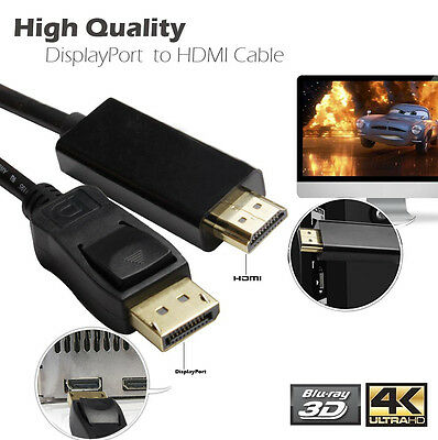 Smart 10ft DisplayPort DP Male Source to HDMI M Video Audio Converter Cable HDTV