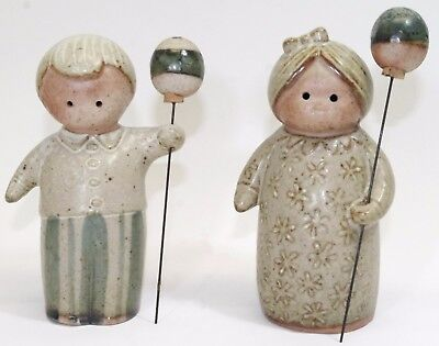 Fitz & Floyd Balloon Boy and Balloon Girl Ceramic Figurines by Lisa Larson Japan