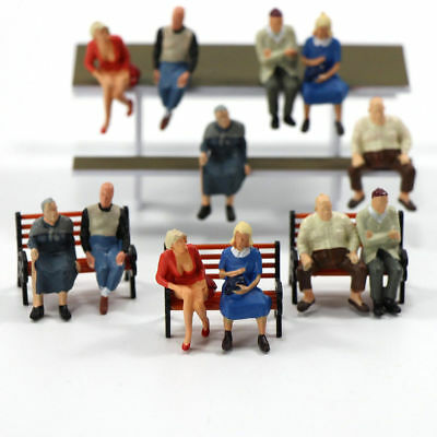 Mix 12Pcs Average Paint Job O scale 1:48 All Seated Sitting Figures People