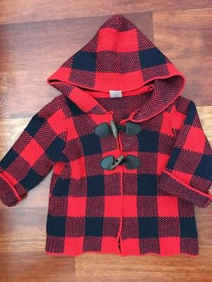 Baby B'gosh Red Checked Coat Size 6mths