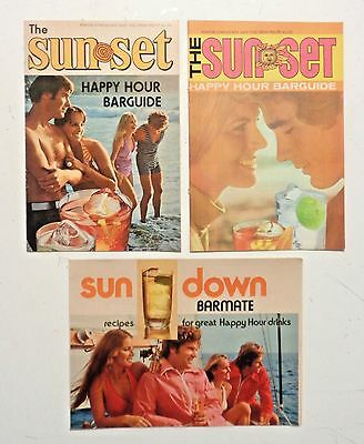 Vintage Lot of 3 BARMATE Swinging 1970s COCKTAIL RECIPES Retro Happy Hour DRINKS