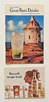 1960-70s Lot of 2 VINTAGE COCKTAILS Modern Drink Recipes Puerto Rico Bacardi RUM