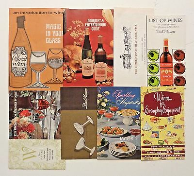 1960-70s Lot of 8 VINTAGE WINE Booklets Wineries Recipes Catalogs MidCentury Mod