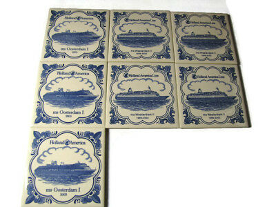 Holland America Line Ceramic Tile Coasters Set Cruise Ship Netherlands Set of 7