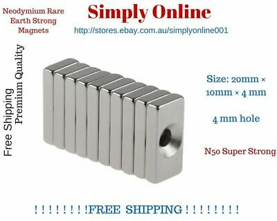 Super Strong Block Magnets 20x10x4mm Hole 4mm Rare Earth Neodymium N50