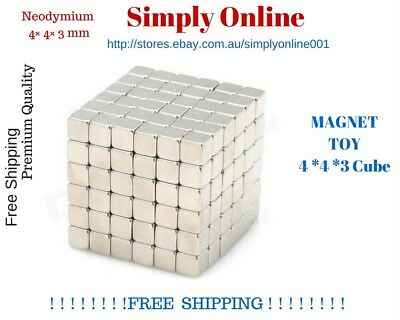 4mm × 4mm × 3mm Magic block Toy Neodymium Magnets Rare Earth Magnets - Free Post