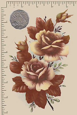 "1 x Waterslide ceramic decal Large Bronze roses. Flowers 7"" x 4 1/4""  PD810"