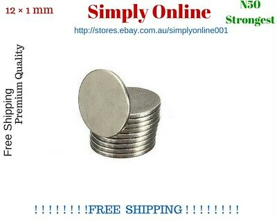 N50 Strong Magnet Disc 12mm x 1mm Round Rare Earth Neodymium - Free Postage