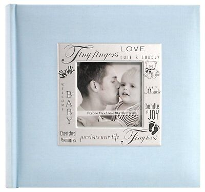 Frame Front 200 Page Pocket Album in Baby Blue Photo Picture Album Blue