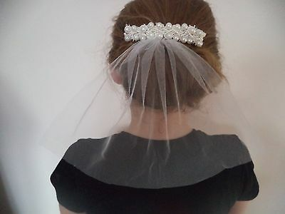 Beautiful Bridal, Communion Comb with short Ivory veil