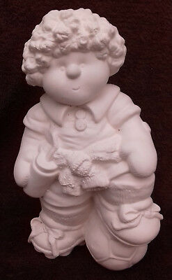 """Paint Your Own Ceramic Bisque - Button Buddy Football Boy - Approx 9"""" tall"""