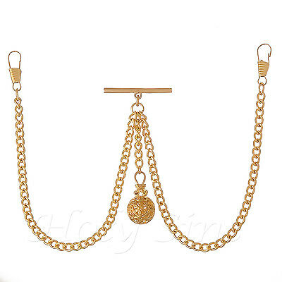 Brand New Gold Colour Double Albert Pocket Watch Fob Chain With Pendant