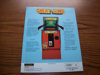 1983 Stern Great Guns Rifle Video Game Flyer Brochure