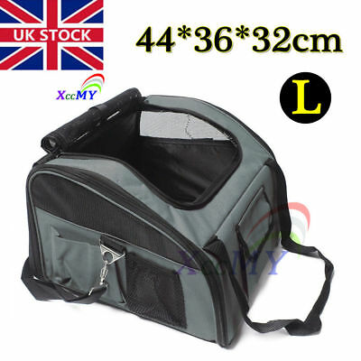 Large Pet Carrier Dog Cat Car Booster Seat Soft Cage Travel Bag Portable Gray UK