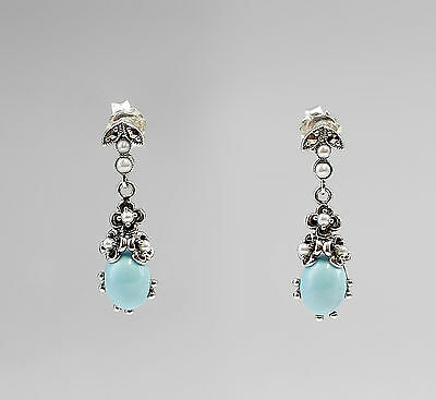 a8-27485 Turquoise Beads Marcasite Earrings