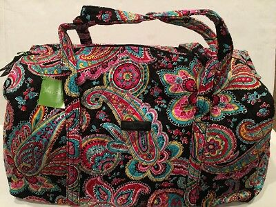 Vera Bradley Large Duffel Travel Bag in Parisian Paisley Quilted Large Suitcase