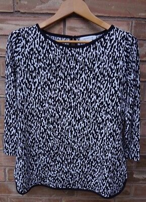 dfcd372ab6d LIZ CLAIBORNE Women's Black/White Printed Tunic 3/4 Sleeve Classic Neck  Size M