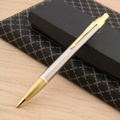 new fashion Stainless steel Pressed Twist metal Golden Trim Ballpoint Pen