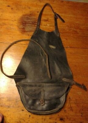 Vintage Heavy Black Leather Apron Farrier Blacksmith With Document Compartments