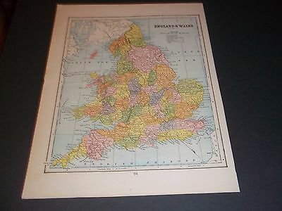 1894 ENGLAND AND WALES Antique color state map original authentic