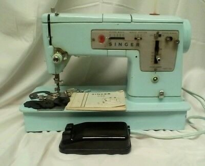Vintage Baby Blue Singer 348 Heavy Duty Sewing Machine Pedal Manual Case Access