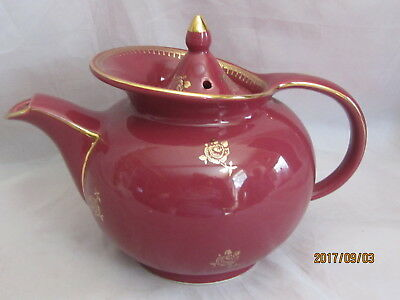 Hall China Windshield Teapot with Gold Decoration