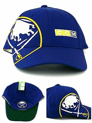 d5689df9632 Buffalo Sabres New CCM Sided Jumbo Logo Blue Gold Flex Fitted Era Hat Cap S