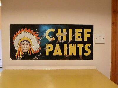 "VINTAGE 1960's ORIGINAL metal "" CHIEF PAINTS "" double sided advertising sign"