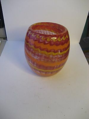 Hand Crafted Multi-Color 3 3/4 Inch Tall Murano Glass Style Candle Holder