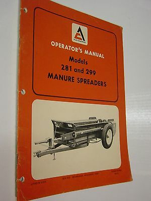 FREE SHIP! 1971 Allis-Chalmers Tractor Manure Spreader Manual Model 281 299