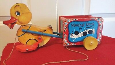 Vintage 1952 Fisher-Price Musical Duck No. 795 Wooden Pull Toy