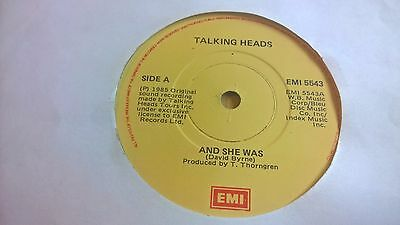"TALKING HEADS - And She Was - IRISH PRESSING 7"" IRELAND 1985"