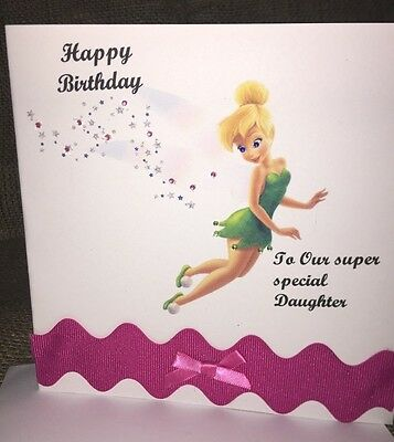 Beautiful Handmade Tinkerbell Girls Birthday Card