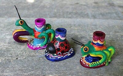 Set of 3 Small Insect Candle Holders Mexican Folk Art Great for Childs Birthday