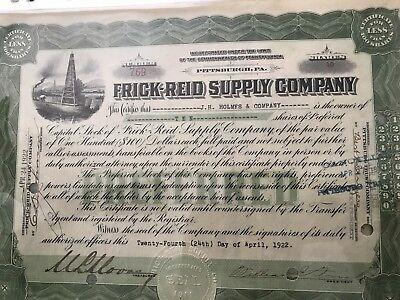 Frick Reid Supply Company Issued Stock Certificate