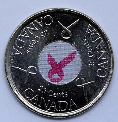 CANADA 2006 Pink Ribbon Colored Quarter 25 CENTS Coin  UNC