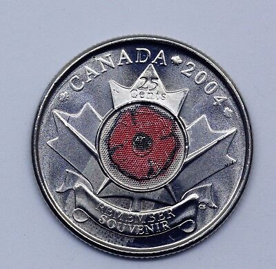 Canada  2004 POPPY-REMEMBRANCE-DAY colored Quarter 25cents - UNC