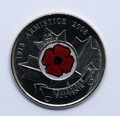Canada  2008 POPPY-REMEMBRANCE-DAY colored Quarter 25cents - UNC