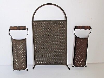 Antique Grater's 2 medium with Wood Handles and 1 all Metal