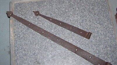 """2 PA Hand Forged Wrought Iron Barn Strap Hinges apx 13 1/2'' &  24 """" long"""