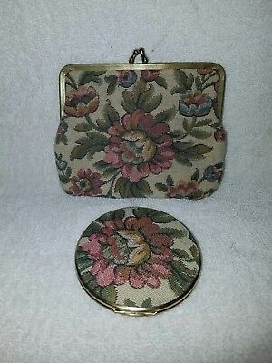 Vintage Neiman Marcus Coin Purse And Matching Compact Mirror • Floral• W Germany