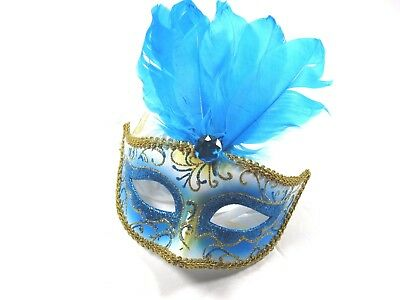 ICING Womens Halloween Mardi Gras Feather Blue Masquerade Mask One Size