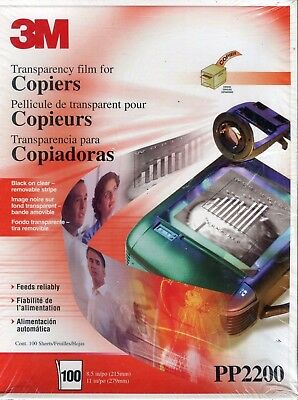 3M Transparency Film for Copiers 8.5 x 11 PP2500 (100 Sheets) NEW SEALED