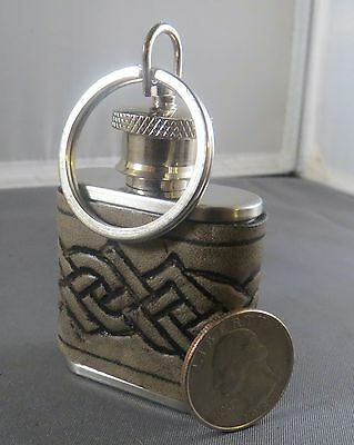1 oz. Emergency Flask has Leather Jacket with Embossed Antiqued Celtic Knots