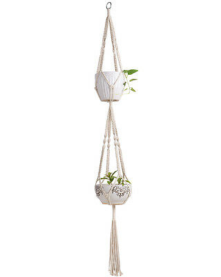 Mkono Macrame Double Plant Hanger Hanging Planter Cotton Rope 4 Feet 67 Inches
