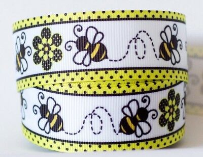 1M X 25mm Grosgrain Ribbon Craft DIY Cake Decoration Hair Bow - Bee White