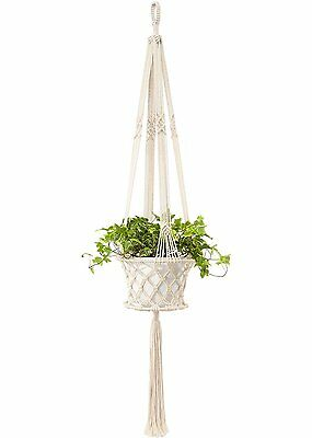 Mkono Macrame Plant Hanger Hanging Planter with Metal Ring Inside 48 Inches
