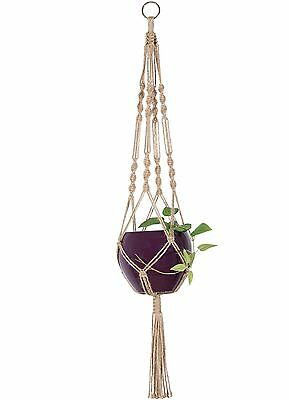 Mkono Macrame Plant Hanger Hanging Planter Basket Jute Rope 4 Feet 34 Inches