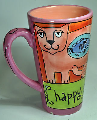 "Ursula Dodge Cats Tall Pink & Violet ""Happy"" Coffee Mug Cup"